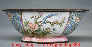 """6,2 """"Qianlong Marqué Vieux Chine Cloisonné Émail Fleur oiseaux Bol Pot Cruche"""