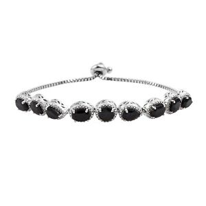 Black-Spinel-Bracelet-With-Rhodium-Clasp