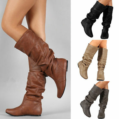 Leather Womens Slouch Mid-Calf Boots Slip On Knee High Boot Flat Shoes Stylish