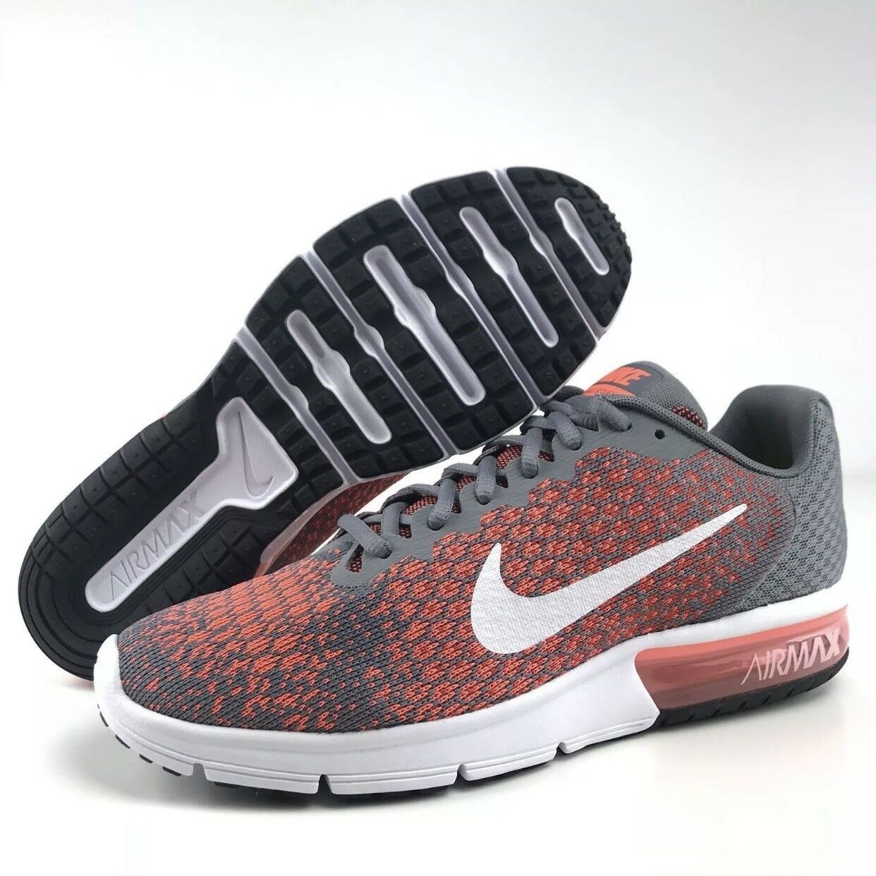 Nike Mens Cool Grey White Orange Air Max Sequent 2 Size 11 NWOB 852461