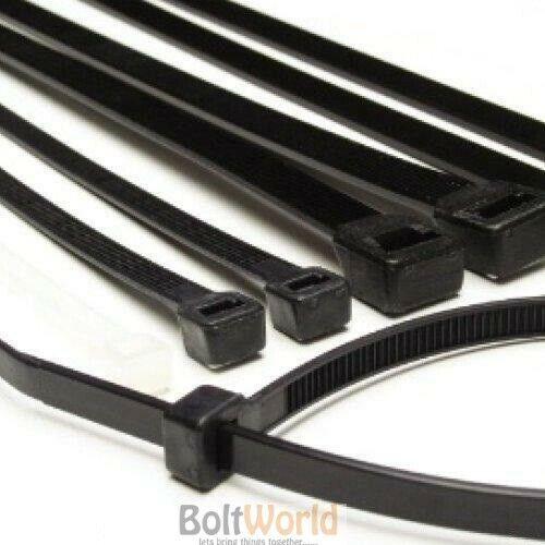 100 3,6 x 200 mm FORTE colore Nero in Nylon in Plastica Fascette zip tie Wraps