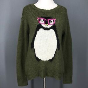 image is loading christmas sweater s juniors green nerdy penguin print