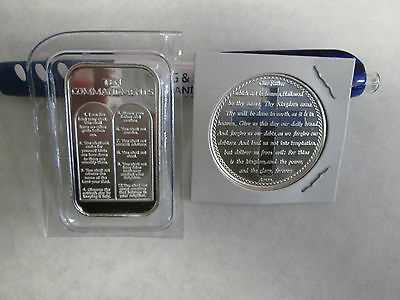 2 oz  .999 Fine Lord/'s Prayer Cross Ten Commandments  silver round  bullion bar