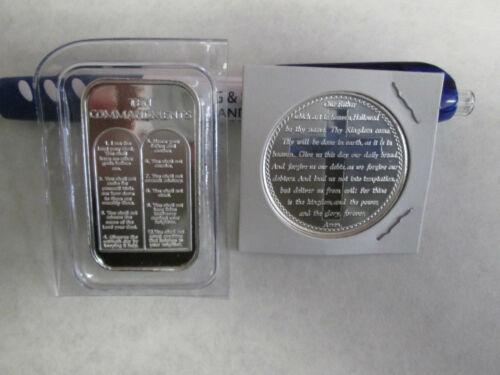 2 oz  .999 Fine Lord/'s Prayer Cross Ten Commandments  silver round  bullion bar