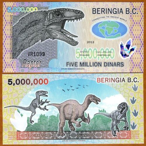 5000000 Beringia B.C. 5,000,000 UNC /> Dinosaur /> Velociraptor 2013 Polymer