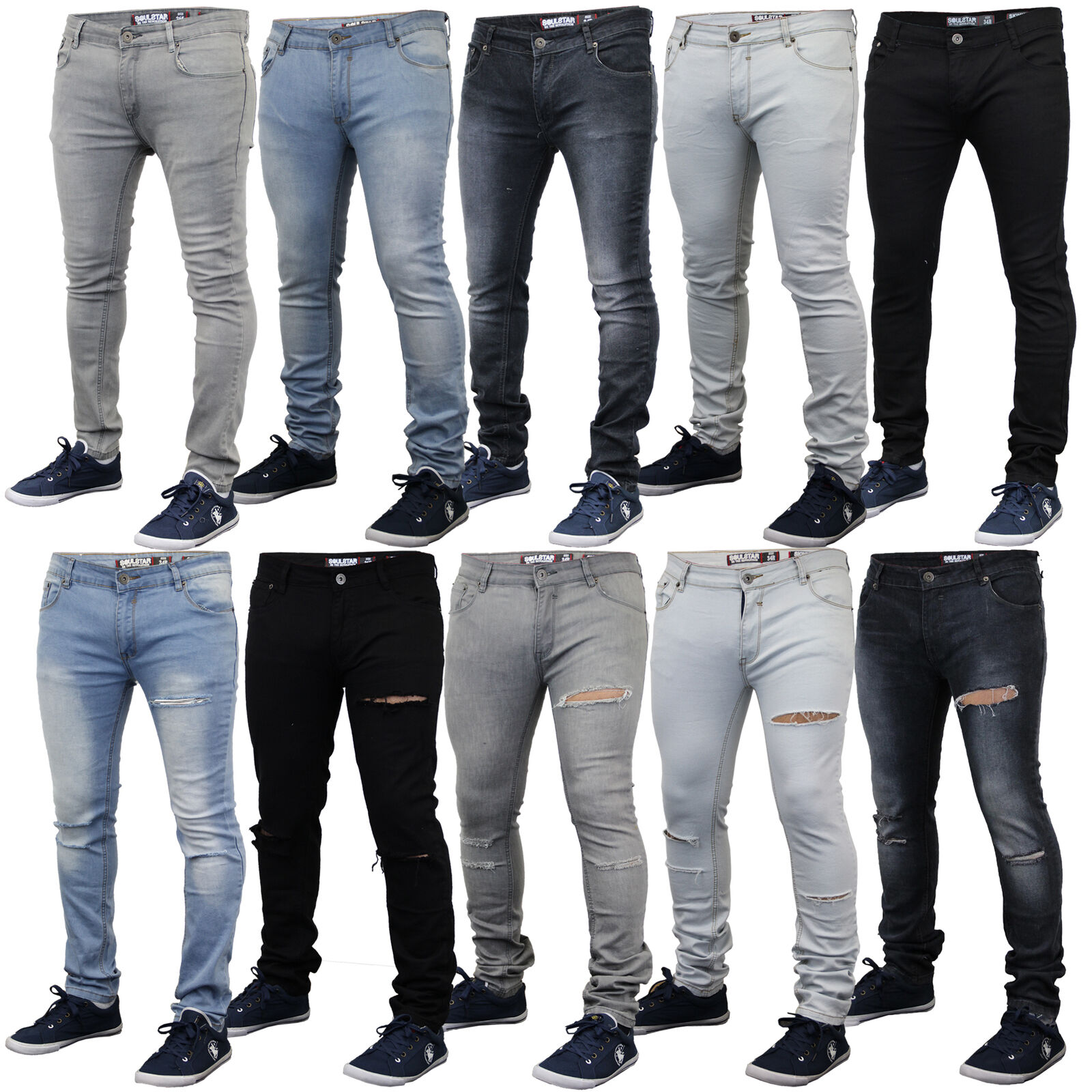 Mens ripped denim skinny fit jeans by Soul Star