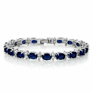 12Ct-Oval-Cut-Blue-Sapphire-amp-Diamond-7-034-Tennis-Bracelet-14K-White-Gold-Finish