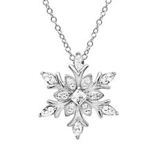 Sterling Silver Snowflake Pendant - Necklace made with Swarovksi Crystals