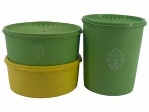 3 Vintage Tupperware Green Apple/ Yellow Stacking Storage Canisters With Lids