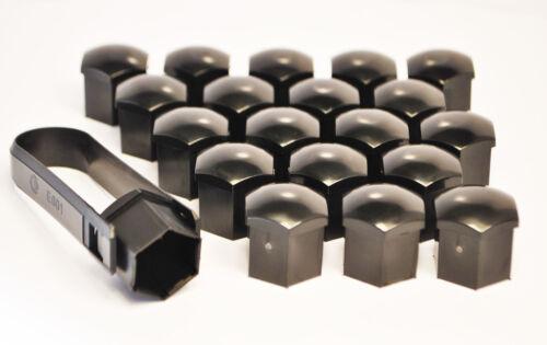 20 X 19mm Esagonale Lega Ruota Dado Coperchi Bullone Nero Removal Tool PORSCHE BAMBINO
