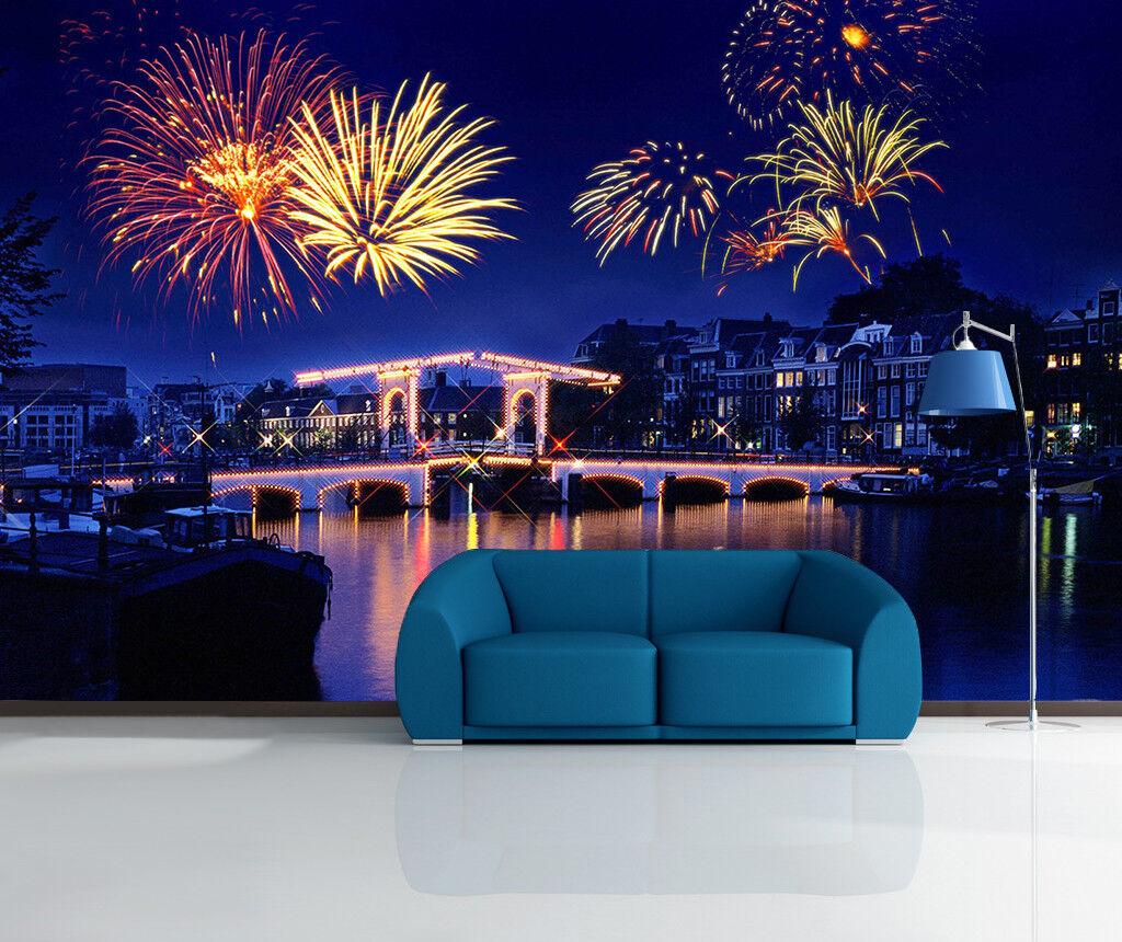 3D 3D 3D Feuerwerk Haus Fluss 7599 Tapete Wandgemälde Tapeten Bild Familie DE Lemon | Neue Produkte im Jahr 2019  cce1c4