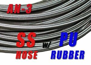 AN-3-AN3-3AN-1-8-034-Stainless-Steel-Braided-Fuel-Hose-Oil-Brake-Line-5ft