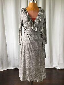 Pink-Tartan-Womens-Dress-Silk-Gray-Zebra-Wrap-Front-Ruffle-Size-L
