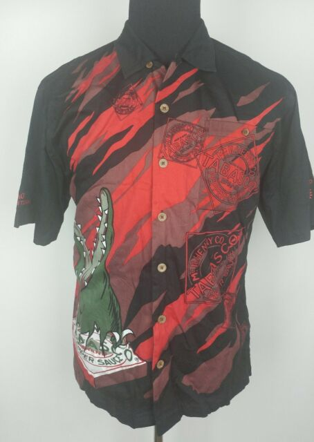 e0e115fa8 Mens Tabasco Hot Sauce shirt alligator logo black button down BP camp pepper  D9C