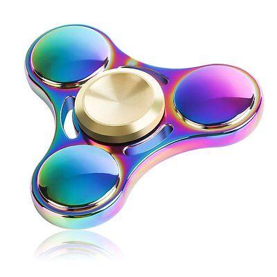 3D Fidget Spinner Rainbow Colorful Hand Finger Focus Kids Toys EDC Aluminum