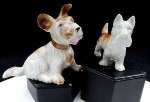 JAPANESE-PORCELAIN-2-PC-BROWN-AND-WHITE-SHAGGY-SCOTTIE-DOG-4-1-4-034-FIGURINES
