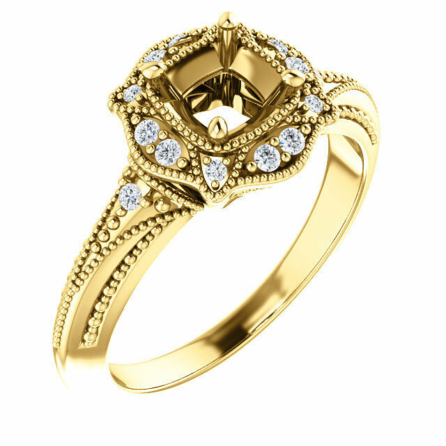 14K Yellow gold Round Diamond Semi Mount Vintage-Inspired Accented Bridal Ring