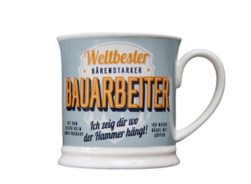 Maurer Becher WELTBESTER BAUARBEITER Retrobecher Kaffeebecher von GlasXpert