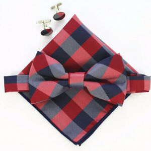 207a1e4c5f65 B17) Grey Blue Red Tartan Men Bow Tie Set With Matching Cufflinks ...
