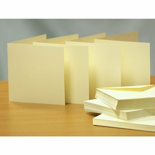 Blank greeting cards & envelopes  square 8 x 8 inch ivory colour x 25