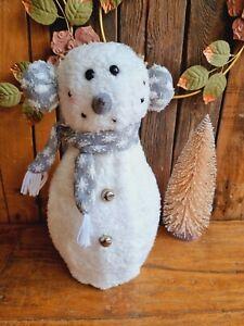 Süßer XL LED Schneemann 43 cm Plüsch Weihnachten Schal Deko Tisch Winter Schnee