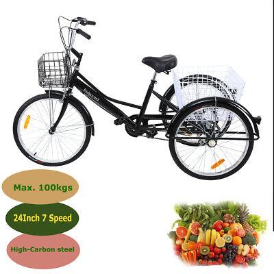 "Ridgeyard Triciclo adulto 24 /"" 7 velocidades bicicleta 3 ruedas adulto con Cesta"