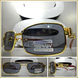 Men-039-s-Classy-Sophisticated-Elegant-Exotic-SUN-GLASSES-Gold-amp-Wood-Wooden-Frame