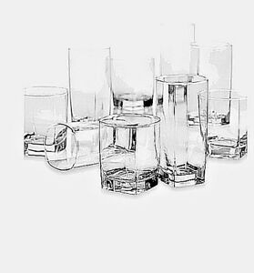 Details about New 16 Piece Clear Drinking Glass Set Water Kitchen Glassware  Beverage Cups Bar