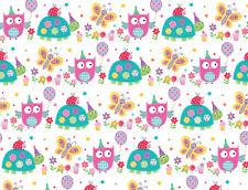 2 Sheets Simon Elvin Gift Wrap Owl Tortoise Happy Birthday