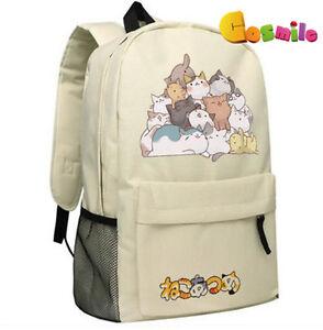 Japanese Game Neko Atsume ねこあつめ Cute Cat Shoulder Bag Backpack ... 09dc9b38417c0