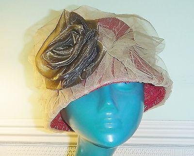 Balu Cappello Sudafricana Periodo Edoardiano Stile Rosso Pizzo Coperto Dalla Rete Caramello Big Rose *-mostra Il Titolo Originale