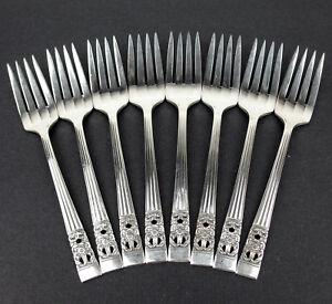 Set-8-Lg-Salad-Dessert-Forks-6-5-8-034-Oneida-Community-Coronation-1936-silverplate