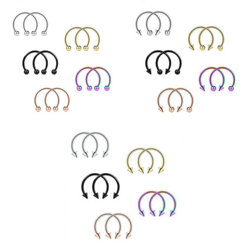10pcs 16G Ball Spike Nose Septum Horseshoe Ear Eyebrow Lip Helix Tragus Piercing