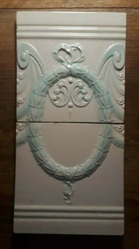 Pair Antique Majolica Tiles w Wreath English 6x12