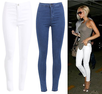 Ausdrucksvoll Womens Celebrity Inspired Cheap Casual Holiday High Waisted Skinny Jeans Uk 6-16