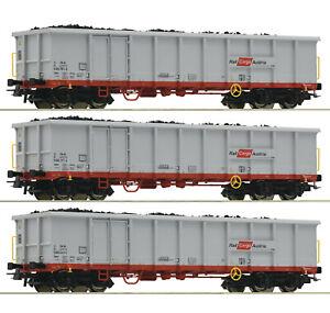 Roco-H0-76082-Ensemble-de-Wagons-Marchandises-Avec-Schrottbeladung-OBB-Nouveaute