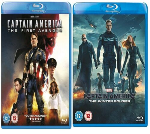 1 of 1 - Captain America Blu Ray Part 1 + 2 Box Sfirst Avenger Winter Soldier Original