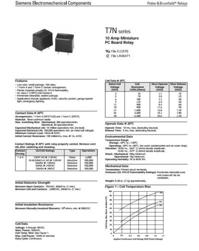 Siemens T7NS5D1-24 10A 24VDC Relay SPDT PC Board Mount Single Pole Double NEW