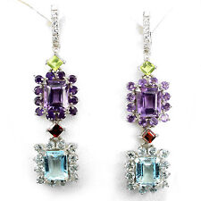 DELUXE NATURAL GEM AMETHYST,GARNET,PERIDOT,TOPAZ, STERLING 925 SILVER EARRINGS