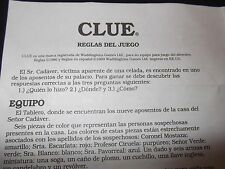 CLUE Reglas Del Juego Spanish Instructions Parker Brothers Board Game Espanol