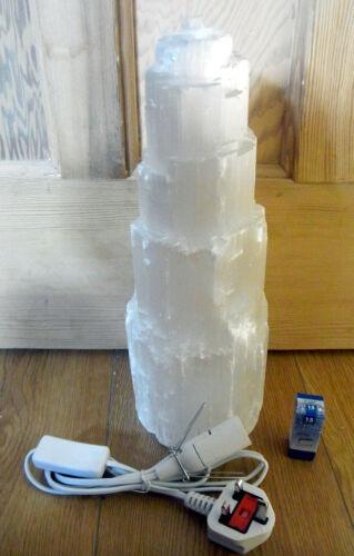 SELENITE CRYSTAL LAMP SNOW MOUNTAIN TOWER A-GRADE  35cm Lead /& Bulb