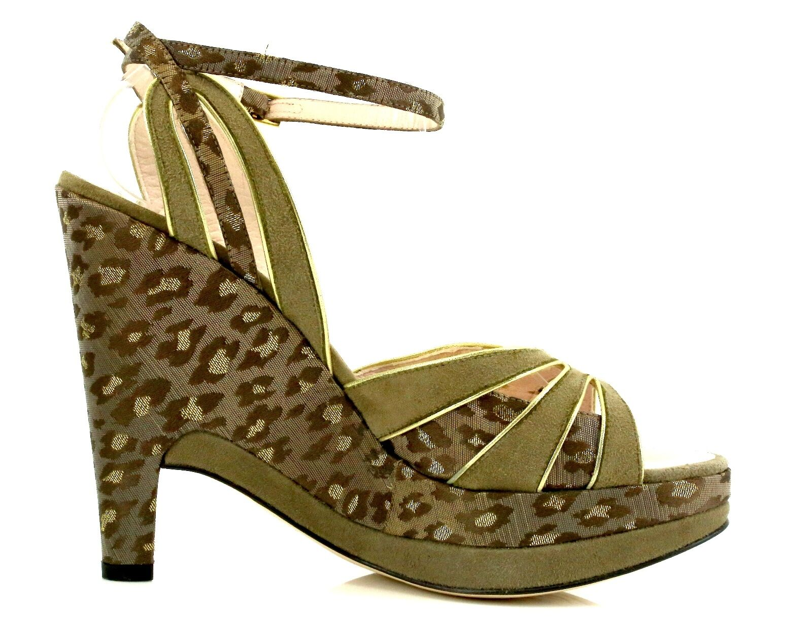 Pollini AEFF Cheetah Print marron Suede Wedge Sandals 7079 Taille Taille Taille 37 EU NEW 76d29e