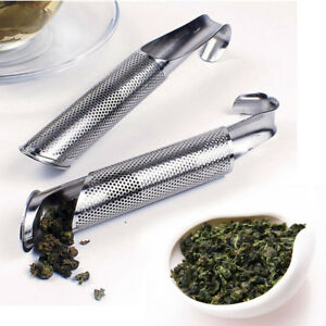 Stainless-Steel-Mesh-Stick-Pipe-Steeper-Strainer-Hanging-Tea-Infuser-W-Hook-New