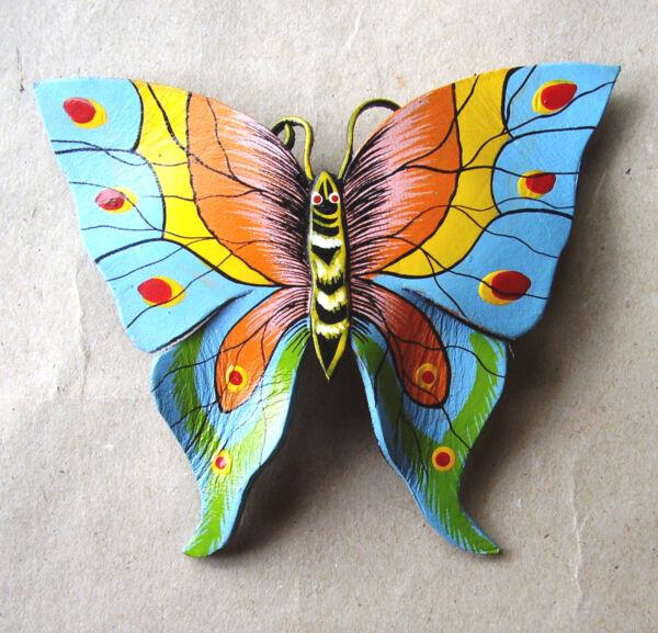 "1452 / Grande Barrette ""papillon"" En Cuir Peint Conducir Un Comercio De Rugidos"