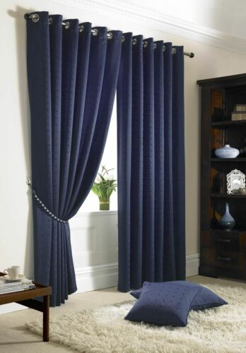 JACQUARD CHECK NAVY BLUE LINED RING TOP EYELET CURTAINS DRAPES *6 SIZES*