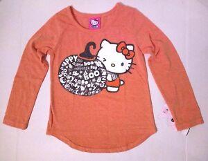 Girls-Hello-Kitty-Halloween-Shirt-Long-Sleeve-Sparkle-Pumpkin-XS-4-5-XL-14-16