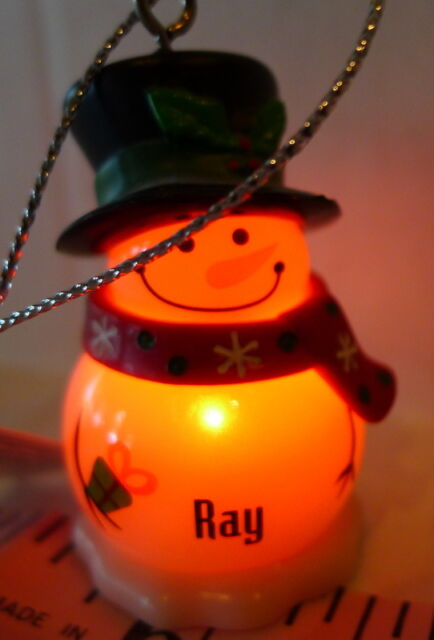 Ganz Snowman Personalized Boy Name RAY Ornament Blinks