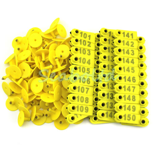100PCS101-200 Number Goat Sheep Pig  Plastic Livestock Ear Tag With Yellow Color