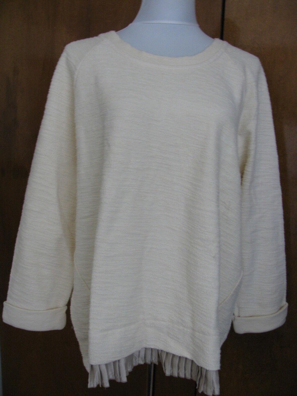 Anthropologie undiscovered eye womens ivory pleat hem long sleeves sweater M NWT