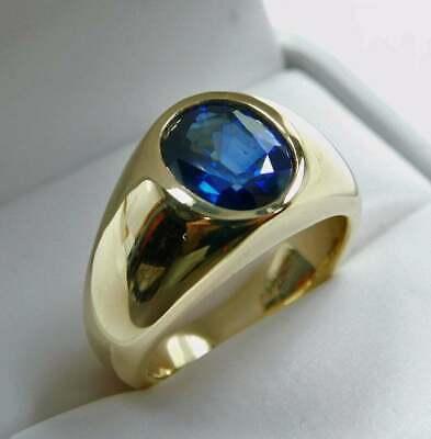 3.00Ct Oval Cut Blue Sapphire Diamond Bezel Engagement Ring 14K Yellow Gold FN